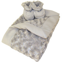 Luxe Gift Set - Velour Blanket And Booties - 8 Colors