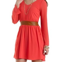 Faux Leather & Chiffon Dress by Charlotte Russe - Teaberry