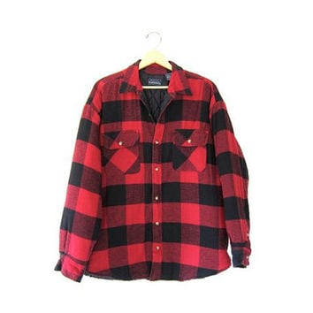 Vintage flannel Red & black Plaid Hunting Jacket Thick Shirt Long Sleeve Buffalo Check Insulated Rustic Work chore COAT Mens Large