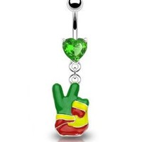 """Amazon.com: 14g Dangling Rasta Peace Sign Finger Sexy Belly Button Navel Ring Dangle Body Jewelry Piercing with Green Cz Heart and Surgical Steel Bar 14 Gauge 3/8"""" Nemesis Body JewelryTM: Everything Else"""