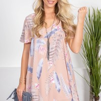 Pink Feather Summer Dress