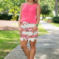 Colorfully Surprised Skirt, Ivory
