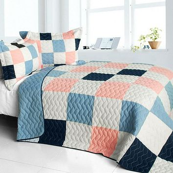 [Princess Diaries] 3PC Vermicelli-Quilted Patchwork Quilt Set (Full/Queen Size)