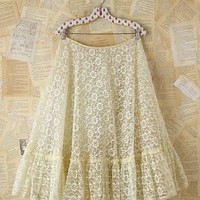 Free People Vintage Creme Lace and Tulle Skirt