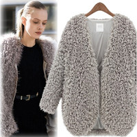 Gray Fur Warm Jacket Trench Coat