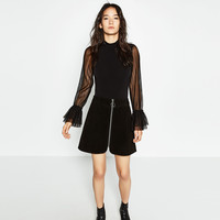 BODYSUIT WITH FRILLED SLEEVES DETAILS