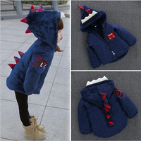 Winter new 0-8 years old boys and girls fashion dinosaur polar fleece thicker coat + free gift
