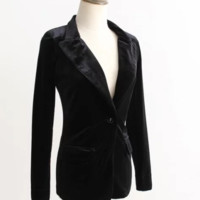 FREE SHIPPING Autumn outfit new cultivate one's morality pleuche small suit jacket