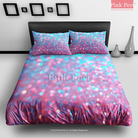 Pink and Blue Sparkle Glitter Bedding Sets Home & Living Wedding Gifts Wedding Idea Twin Full Queen King Quilt Cover Duvet Cover Flat Sheet Pillowcase Pillow Cover 043