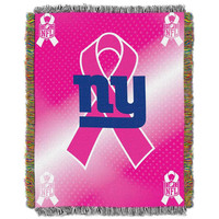 New York Giants NFL Woven Tapestry Throw (Breast Cancer Awareness) (48x60)