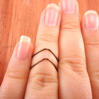 Chevron Ring Pair, Above the Knuckle, Antique Brass