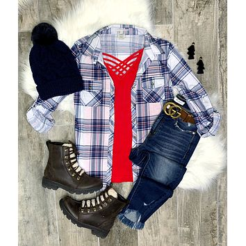 Penny Plaid Flannel Top - Denim/Red