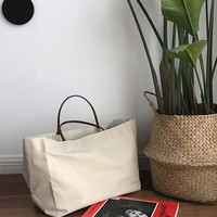 large shopping bag jumbo canvas totes beach bag shoulder bag summer white casual totes 2017  fashion beige white color