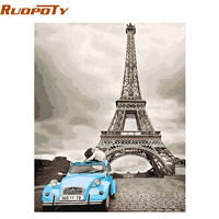 RUOPOTY 40x50cm DIY Painting By Numbers Paris Kiss Modern Nordic Style Wall Art Picture Handpainted Oil Painting For Home Decor