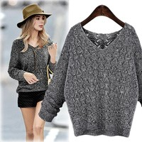 Autumn Women's Fashion Long Sleeve Hollow Out Pullover Knit V-neck Tops [37753618458]