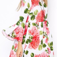 ASOS Reclaimed Vintage Dress With Flute Sleeve In Rose Print