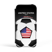 USA Football World Soccer Team 2014 - American Fans Flag - United States Fans Flag III PU PU Leather Case for iPhone 5/5s by World Flags