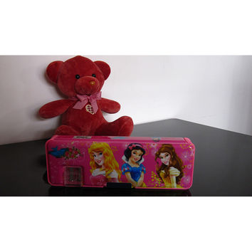 Cute cartoon student supplies Multifunction Two-sided pencil boxes pencil case      Princess Pink
