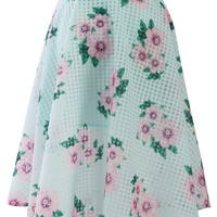 Floral Print Plaid Midi Skirt in Mint