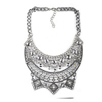 New European Style Necklace Foreign Trade Original Order Alloy Zircon Big Brand Exaggerated Woman Necklace  silver