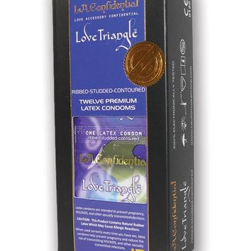 L.a. Confidential Love Triangle Ribbed Condoms - Pack Of 12