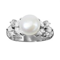 Sophie Miller Freshwater Cultured Pearl & Cubic Zirconia Sterling Silver Ring (White)