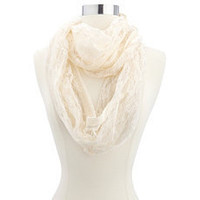 Crochet Trim Lace Infinity Scarf: Charlotte Russe