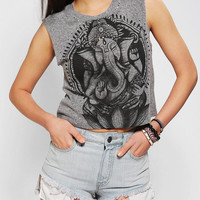 Title Unknown Gemmed Ganesha Cropped Muscle Tee