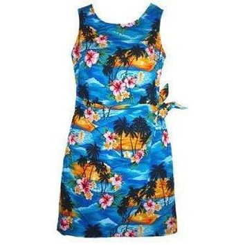skyburst hawaiian sarong dress