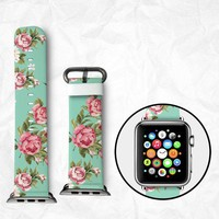 Floral Apple Watch Band for Series 1 Series 2, Leather Strap Wrist Band with Metal Clasp 38mm 42mm Adapter - Beautiful Rose