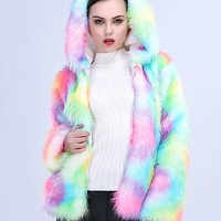 Best Selling Rainbow Faux Fur Jacket With Hood