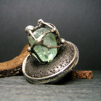 Jewelry by AMW - Statement Ring - Natural Raw Stone Huge Aquamarine and Volcanic Lava Ring