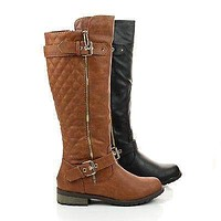 Mango21 By Forever, Knee High Quilted Buckle Riding Moto Boots