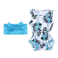2 pcs/lot Baby Girls Clothes Infant Clothes Sleeveless Blue Tassel Romper Jumpsuit born Baby Rompers Clothing Set