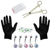 BodyJ4You Body Piercing Kit Needles 14G 16G Jewelry Belly Button Ring 15 Pieces