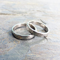 Matching Hammered White Gold Wedding Band Set: 4mm Wedding Rings in Polished or Matte Palladium