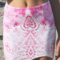 Bossy The Label - Takeoff Skirt - Henna Print Bodycon Skirt in Pink & White