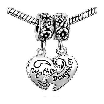 Mother Daughter Dangle Charm Bead