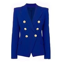 Double Breasted Gold Button Blazer - Cobalt Blue