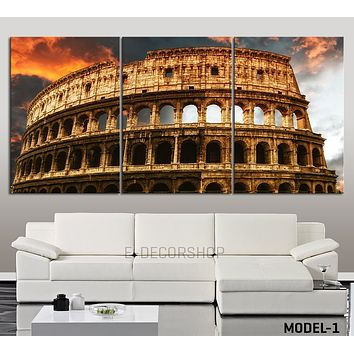 LARGE Wall Art The Coliseum Canvas Print Colosseum Stretched Canvas Art Print Ready to Hang
