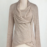 Travel Mid-length Long Sleeve Airport Greeting Cardigan in Oatmeal