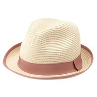 Tan Ribbon-Trimmed Straw Fedora Hat by Charlotte Russe
