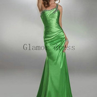 long green satin prom dresses with one strap    sexy elegant gowns for evening prom    cheap column prom dress hot