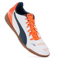 PUMA EvoPOWER 4.2 IT Jr. Youth Unisex Indoor Soccer Shoes (White)