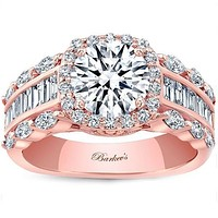 Barkev's Cushion Halo Three Row Baguette Diamond Engagement Ring