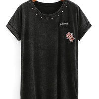 Embroidery Patch Studded High-Low T-shirt