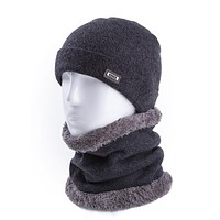 Men Soft Wool Warm Winter Hats & Ring Scarf For Men And Women Cashmere Beanie Cap&Scarf Solid Knitted Hat