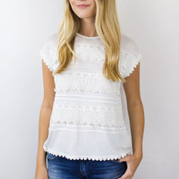 Kimmy Lace Fringe Trim Tank