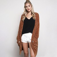Final Sale - Textured Knit Shawl Cardigan in Gucci