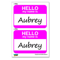 Aubrey Hello My Name Is - Sheet of 2 Stickers